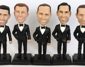 Custom Made Bobble Heads For The Groomsmen - Groomsmen Gift Idea - Groomsmen Bobble Heads Gifts - Personalized Bobblehead In Custom Clothing