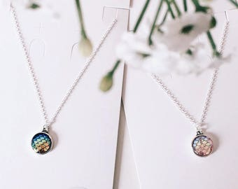 Mermaid Pendant Necklace Pink or Blue (Sterling Silver Chain)