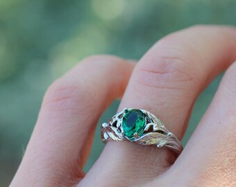 Pear cut emerald engagement ring, unique engagement ring, leaf ring, branch ring, nature ring for woman, white gold ring, lab emerald ring