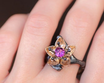 Rhodolite garnet flower ring, rose gold and silver, unique engagement ring, cherry flower ring for woman, nature jewelry gift, apple blossom