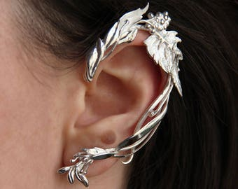 One of a kind ear cuff with leaves design, sterling silver ear wrap, unusual designer jewelry, wedding leaves earrings, handmade summer