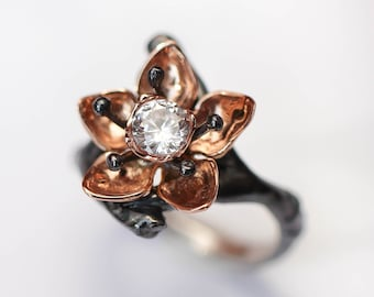 Simulated diamond flower ring, rose gold and silver cherry blossom ring, nature engagement ring, ring for woman, cubic zirconia ring, unique
