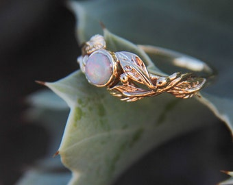 14K gold opal ring, unique engagement ring, white opal proposal ring for woman, gold ivy leaves ring, nature inspired genuine opal jewelry