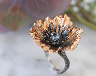 Gold plated flower ring with alexandrite, poppy flower ring, statement silver ring, nature jewelry gift for woman, alexandrite ring
