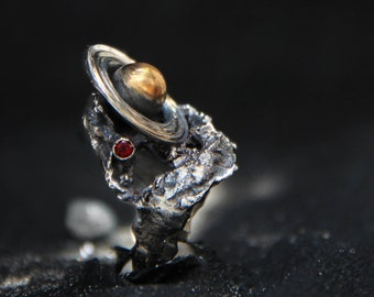 Saturn ring handmade in sterling silver with gold plating, unique cosmic statement ring, one of a kind art jewelry, unusual brutalist ring