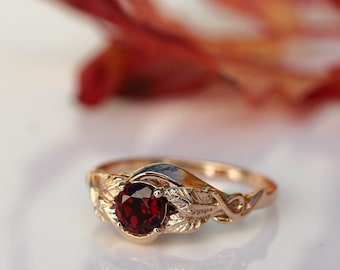 Rose gold engagement ring, unique engagement ring, garnet engagement ring, leaf ring, branch ring, nature ring, unique gold ring, botanical