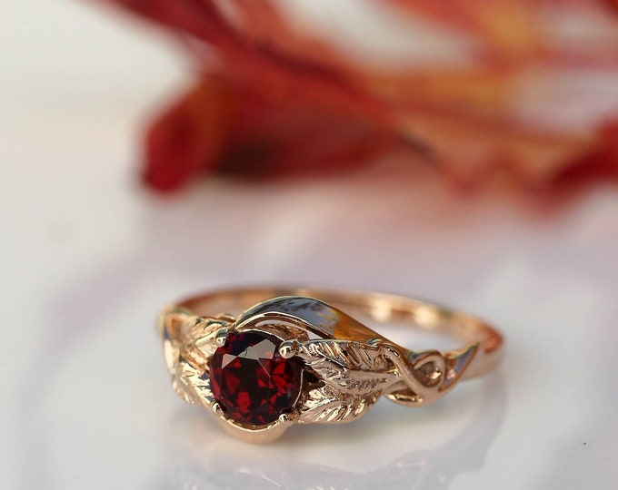 Featured listing image: Rose gold engagement ring, unique engagement ring, garnet engagement ring, leaf ring, branch ring, nature ring, unique gold ring, botanical