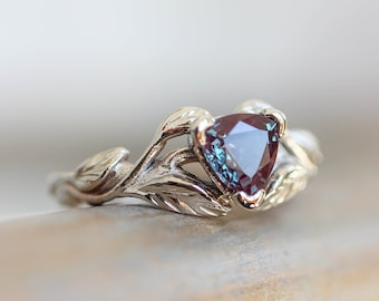 Trillion cut alexandrite engagement ring, unique engagement ring, leaf ring, branch ring, nature ring, white gold ring, alexandrite ring