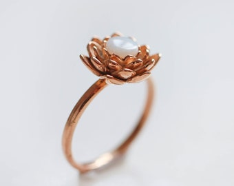 Gold plated lotus ring with opal, romantic proposal ring, flower engagement ring, sterling silver ring, natural opal ring, lotus flower ring