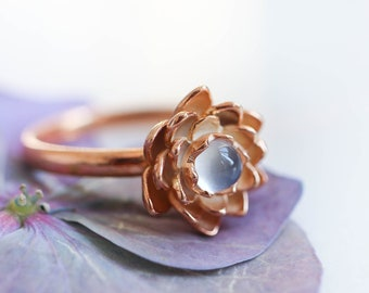 Rose gold plated lotus ring, blue moonstone ring, flower proposal ring, romantic promise ring, nature engagement ring, sterling silver ring
