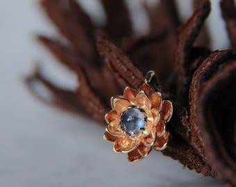 Gold flower pendant, moonstone pendant, lotus pendant, 14K gold pendant, floral jewelry, floral pendant, nature pendant, flower jewelry
