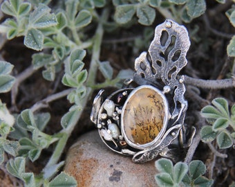 One of a kind ring with dendritic quartz, sterling silver statement ring, ocean inspired jewelry, unique nature ring, size 8, gift for women