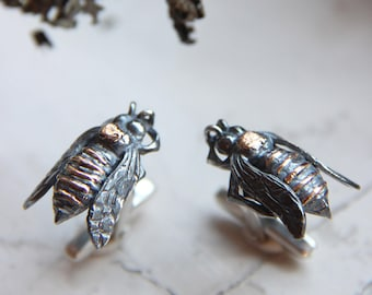 Bee cufflinks, silver and gold cufflinks, insect cufflinks, gift for him, unique cufflinks, men's jewelry, sterling silver cufflinks