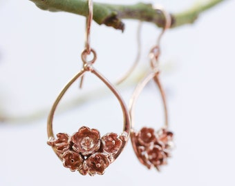 Rose gold flower earrings, lily of the valley earrings, bridal jewelry, wedding earrings, romantic gift for woman, teardrop earrings
