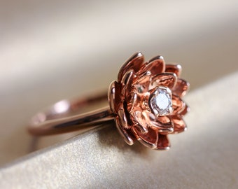 Gold flower engagement ring, diamond ring, rose gold ring, unique engagement ring, proposal ring, lotus ring, 14K gold ring for woman