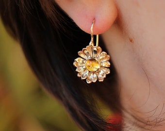 14K yellow gold daisy earrings, citrine earrings, flower earrings, daisy jewelry, floral jewelry gift, wedding earrings, gift for mom