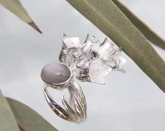 Bouquet flower ring with moonstone, unique handmade summer silver ring, romantic jewelry, gift for woman, floral or nature inspired jewelry