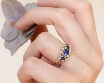 Three sapphires engagement ring, synthetic sapphire, unique ring, leaf ring, art nouveau ring, nature ring for woman, white gold ring