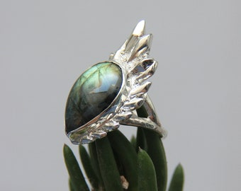 One of a kind labradorite ring, statement sterling silver ring, cactus ring, nature inspired jewelry, handmade summer jewelry