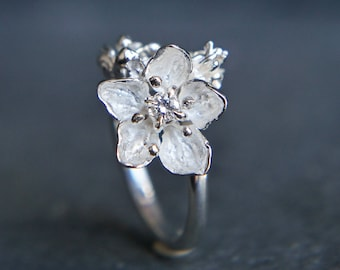 Apple blossom ring, diamond ring, sterling silver ring, unique engagement ring, flower engagement ring, proposal ring, one of a kind ring