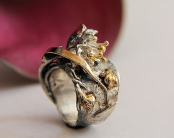 Statement ring, silver and gold ring, flower ring, floral jewelry, art jewelry, modern jewelry, one of a kind, leaves ring