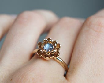 Moonstone engagement ring, flower engagement ring, yellow gold ring, unique engagement ring, proposal ring, lotus ring, floral jewelry