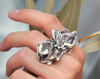 One of a kind statement ring, mythology art jewelry piece, bold sterling silver ring, unusual jewelry, silver and gold ring, gift for woman