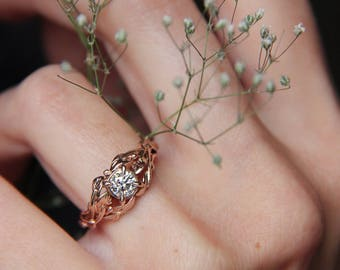 Rose gold engagement ring, diamond ring, custom engagement ring, leaves ring, branch ring, nature ring, gold ring, unique engagement ring