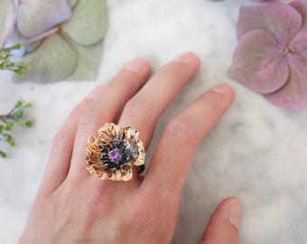Statement poppy flower ring with amethyst, silver and gold ring, unique jewelry gift, amethyst ring, poppy jewelry, bold ring for women