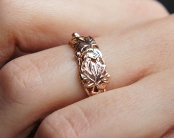Gold leaves ring, rose gold ring, maple ring, leaf ring, gold branch ring, three gold tone ring, unique engagement ring, unique wedding ring