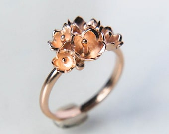 Romantic engagement ring, flower engagement ring, 14K rose gold ring, lily of the valley ring, proposal ring, promise ring, delicate ring