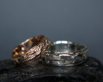 Textured wedding bands, silver and gold wedding ring, unique wedding ring, modern wedding band, wedding band set, rustic wedding ring