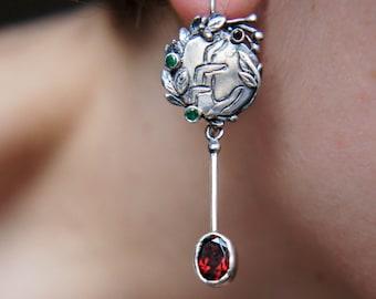 Mismatched earrings, unique earrings, sterling silver earrings, garnet earrings, emerald earrings, long earrings, designer jewelry