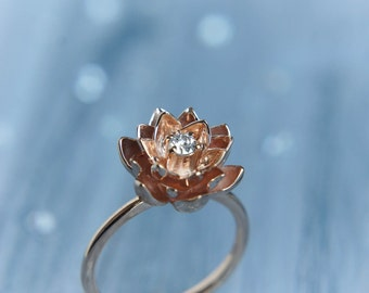 Gold flower engagement ring, diamond ring, rose gold ring, unique engagement ring, proposal ring, lotus ring, 14K gold ring, red gold ring