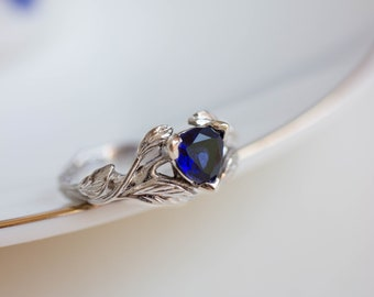Trillion cut sapphire engagement ring, alternative engagement ring, leaf ring, white gold branch ring, nature ring, blue sapphire ring