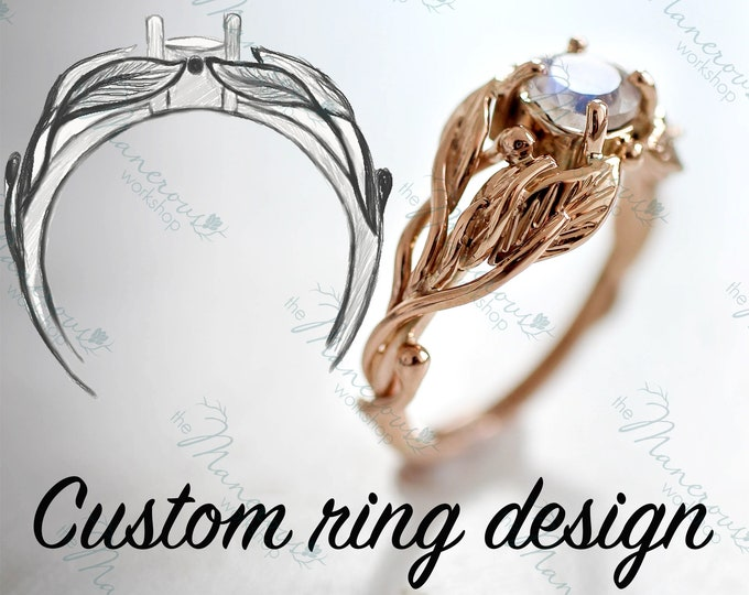 Featured listing image: Bespoke ring design service, unique engagement ring, individual design, 3d design ring, one of a kind wedding ring, leaves ring, nature ring