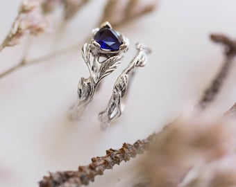 Sapphire wedding band set, alternative engagement ring, leaf ring, white gold branch ring, nature ring, blue sapphire ring, trillion cut