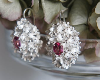 Wedding earrings, flower earrings, sterling silver earrings, pink topaz earrings, bridal jewelry, floral jewelry, heirloom jewelry, unique