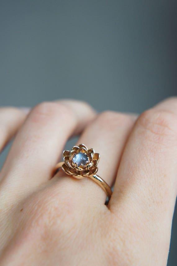Mondstein Verlobungsring Blume Verlobungsring Gelbgold Ring Etsy