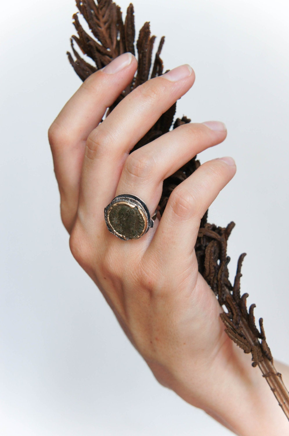 523e6ca520f1c Ancient coin ring, Roman coin ring, sterling silver and gold ring ...