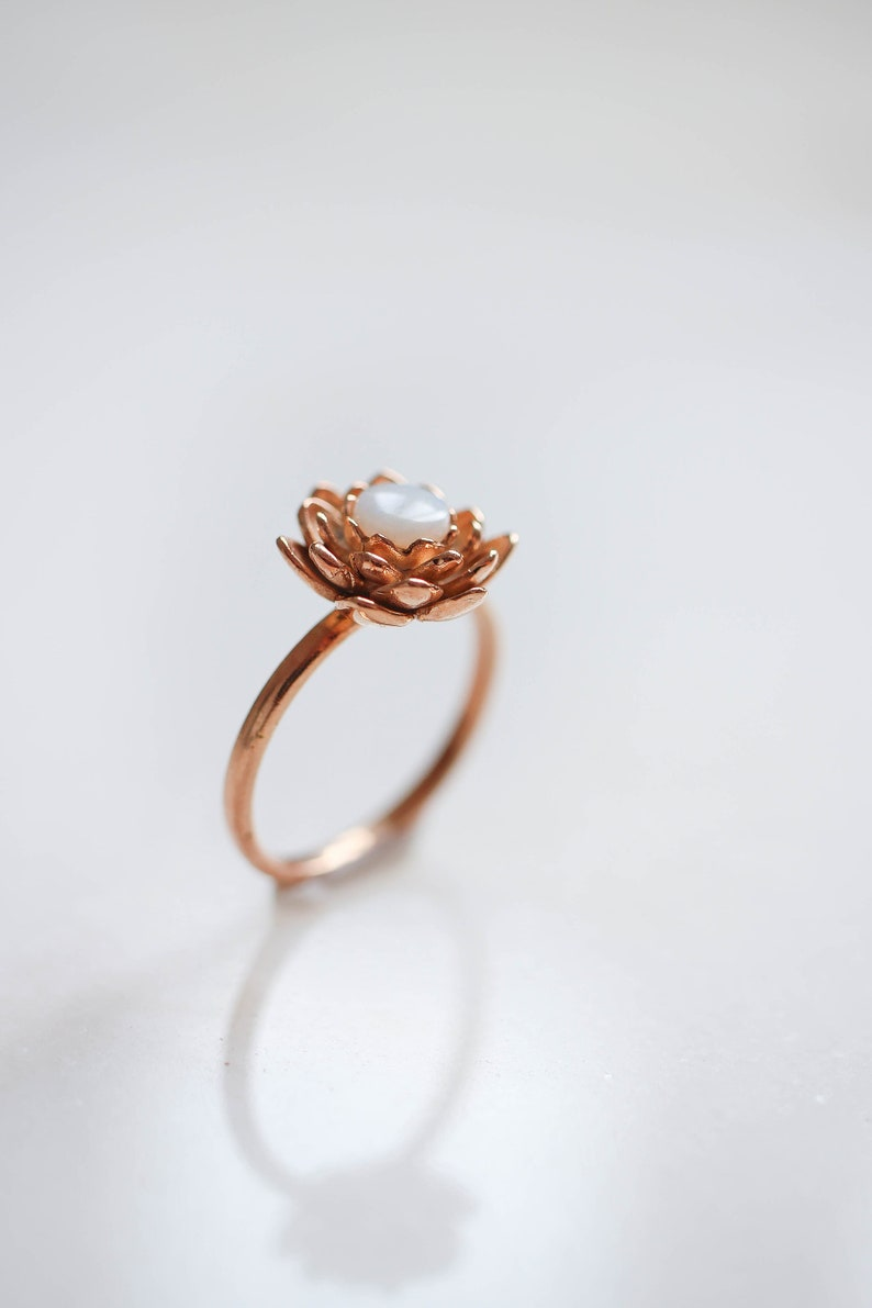 Gold Plated Lotus Ring With Opal Romantic Proposal Ring Etsy