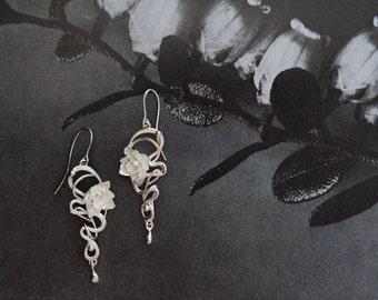 Custom art nouveau bridal earrings, wedding earrings, bridal jewelry, wedding jewelry, sterling silver earrings, unique earrings