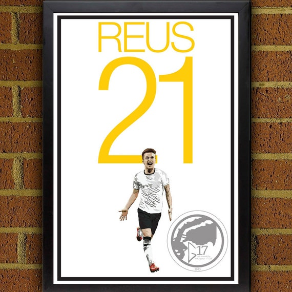 competitive price a9113 5b943 Marco Reus 21 Germany Football - Soccer Poster 8x10, 13x19, print, art,  home decor, wall decor, german poster, world cup poster