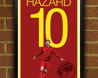 Eden Hazard 10 Belgium Poster - Chelsea FC - Belgium Soccer Poster- 8x10, 13x19, poster, art, wall decor, home decor, premier league