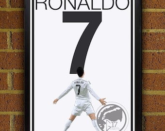 Real Madrid Ronaldo Poster - Portugal Soccer Poster Madrid poster, art, wall decor, home decor, futbol print, ronaldo art work