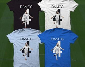 Sergio Ramos Madrid 4 T-Shirt - RMCF Soccer Player - Size S to Xxxl -Custom Apparel Football, futbol, soccer, la liga, real madrid, Spain