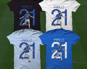 Pirlo T-Shirt - Italy Soccer Player - Size S to XXXL -Custom Apparel Football, futbol, soccer, serie a, juventus, italia