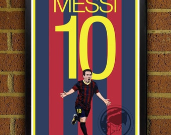 Lionel Messi 10 Poster - Barcelona FC - Argentina  Soccer Poster- 8x10, 13x19, poster, art, wall decor, home decor, world cup, barca