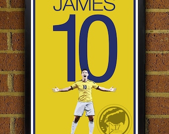 James Rodriguez 10 Colombia Football - Soccer Poster, art, home decor, wall decor, colombian poster, world cup poster
