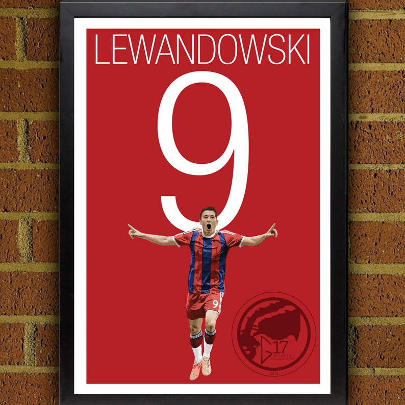 8e1c73b3b Lewandowski 9 Home Bayern Munich Jersey Soccer Poster 8x10